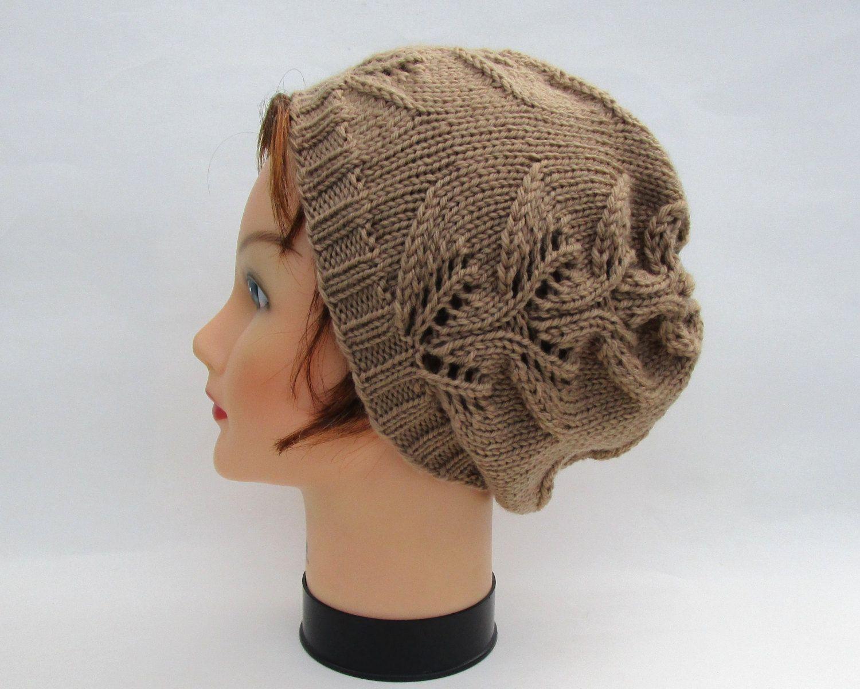 Lace Knit Beanie - Nutmeg Slouchy Hat - Merino Wool Headwear - Women's Accessories by BettyMarieJones on Etsy