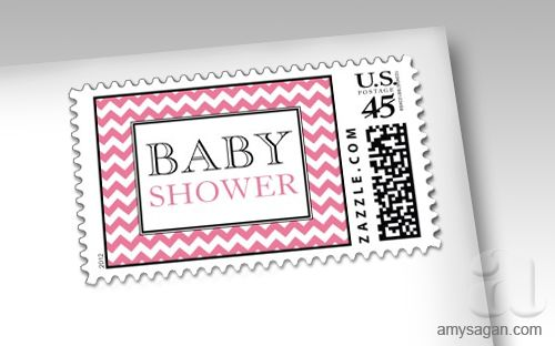 Chevron Pink And White Baby Shower Postage Stamps