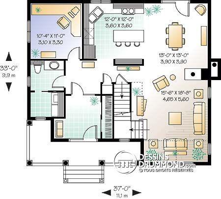 W2759 - Bureau à domicile, espace ouvert avec foyer, 3 à 4 ch, bien - idee de plan de maison