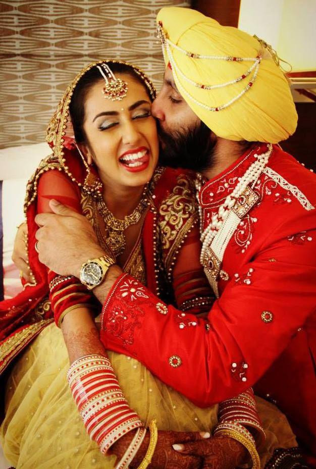 Beautiful Indian Bride And Groom Wedding Punjabi Glamour Gold