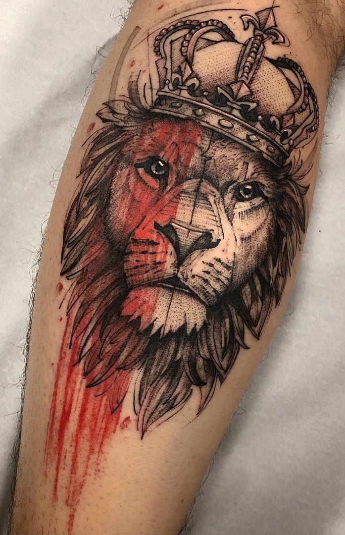 d26ce782853f8 creative lion tattoo © tattoo artist Lucas Martinelli 💕👑💕👑💕👑💕