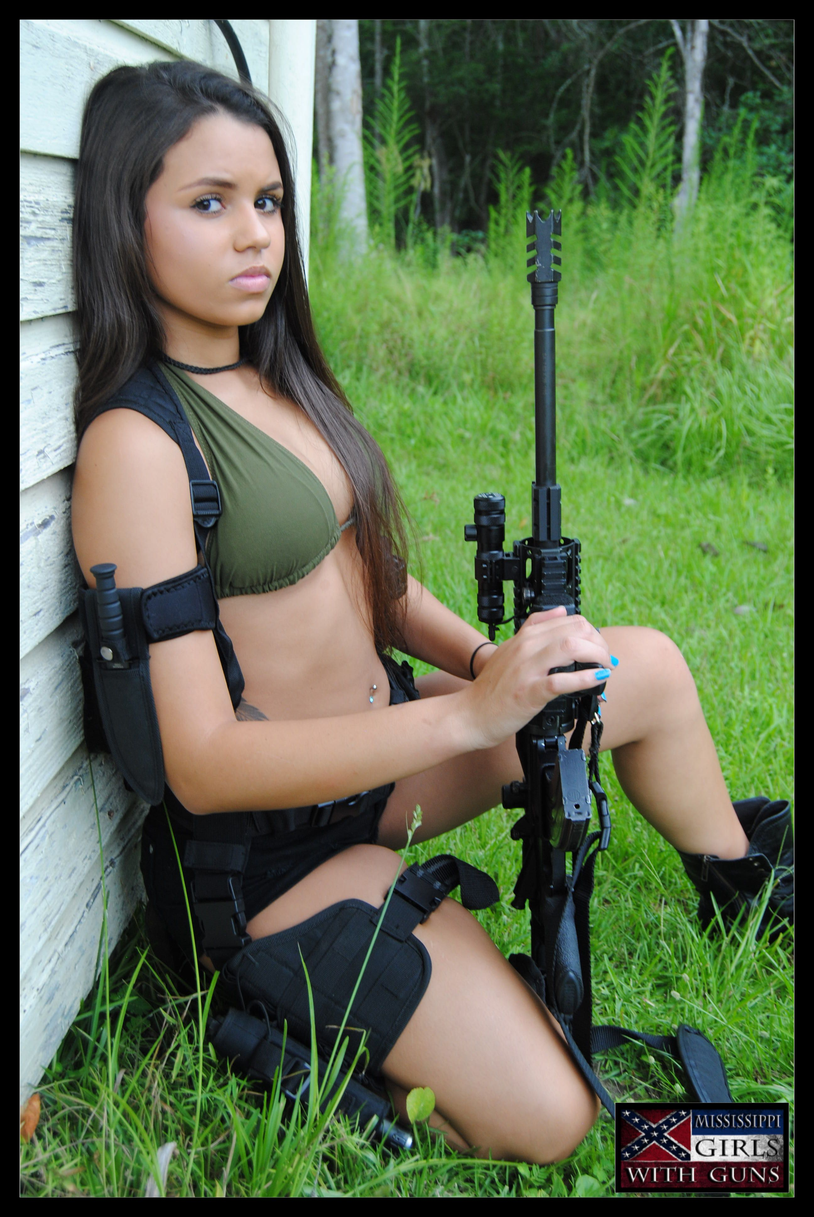 nude hot women with guns
