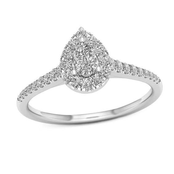 1 2 Ct T W Pear Shaped Diamond Frame Engagement Ring In 14k White Gold Goruntuler Ile Gumus Yuzuk