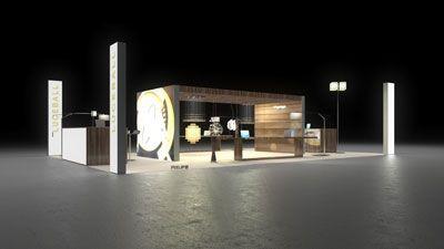 Beautiful  Beleuchtung Luceball Einladender Messestand f r einen Hersteller von Beleuchtungen Der mittelgro e Inselstand zeigt