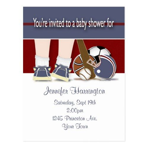 Baby Shower All Sports Invitation Template Postcard  Soccer