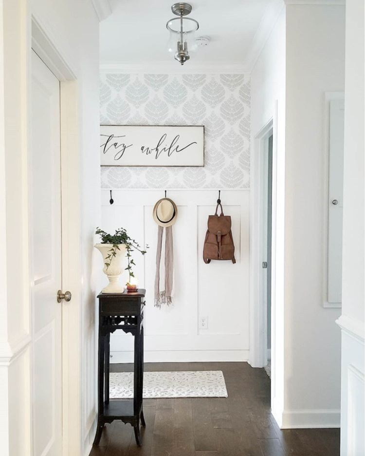 Hygge Fern Damask Peel And Stick Wallpaper In 2021 Accent Wall Entryway Accent Walls In Living Room Wallpaper Accent Wall
