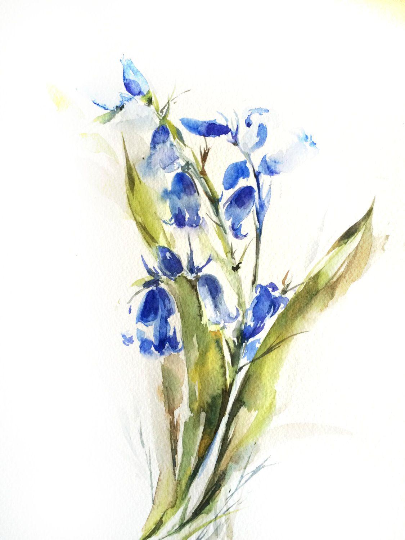 Bluebells Original Watercolor Painting Flowers by