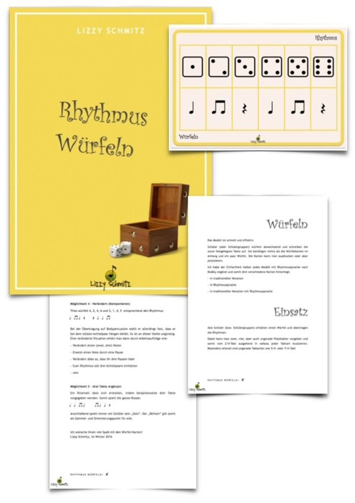 Rhythmus würfeln | teaching ideas - music, rhythm, percussion, team ...