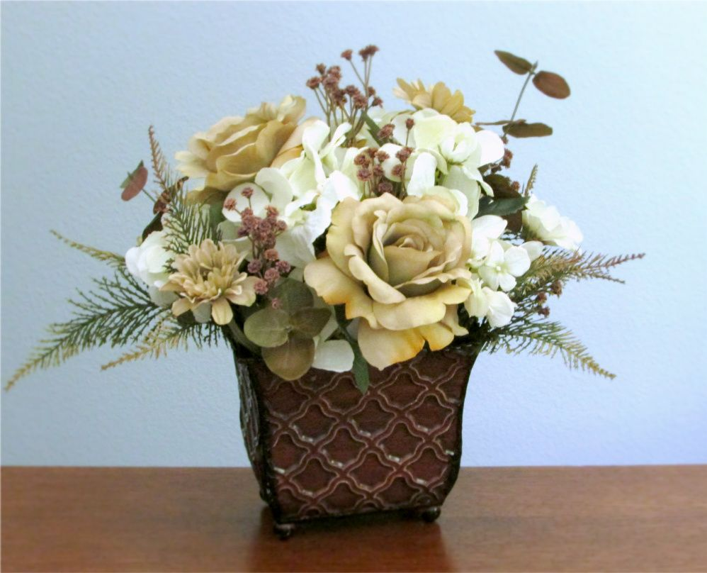 Ivory Champagne And Cocoa Brown Silk Flower Arrangement Of Roses