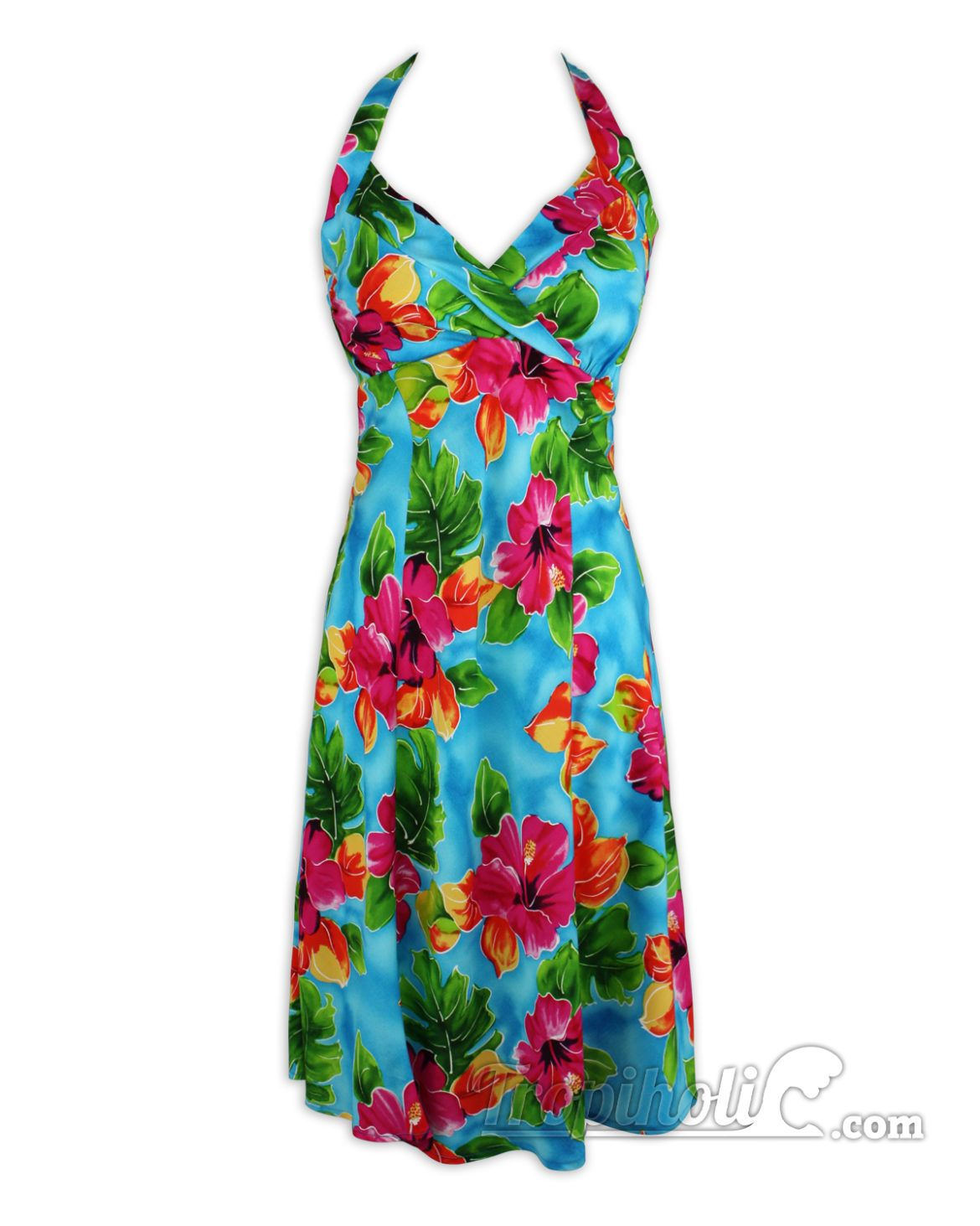 98a76ea8e2d Hawaiian Sundress - Short Halter - Two Palms-Hibiscus Watercolor -Turquoise  - Love the colors