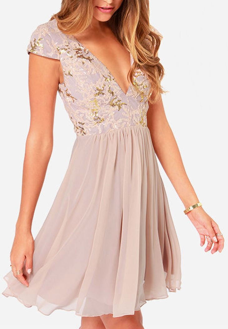 The Perfect Night Can Last Forever In Something As Stunning Bariano Sabina Beige Sequin Dress Gold And Blush Sequins Dazzle Over A Tulle Bodice