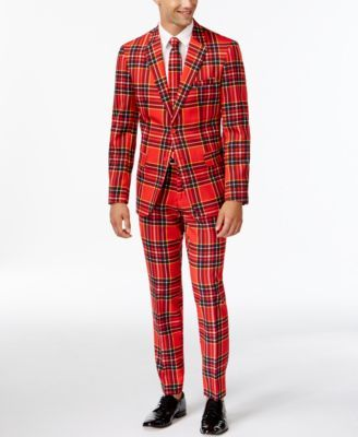 c2f1a36bfc09 Make a bold statement and say it loud with this red plaid suit and tie from  OppoSuits. | Polyester | Hand wash | Imported | Jacket: notched collar; ...
