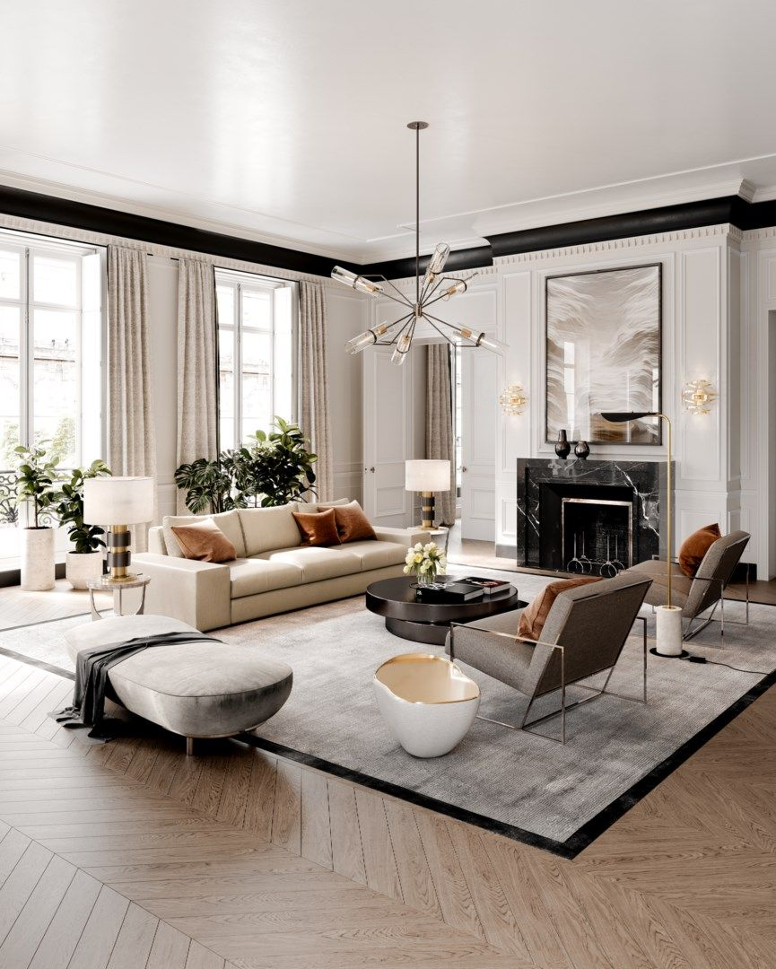 38 Elegant Living Rooms That Are Brilliantly Designed: Corbett Lighting En 2020 (avec Images)
