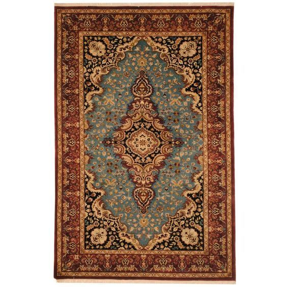 Rug From Pakistan This Tabriz Area Rug Is Hand Knotted With A Floral Pattern In Shades Of Light Blue Rust Black Green Rugs Wool Rug Shades Of Light Blue
