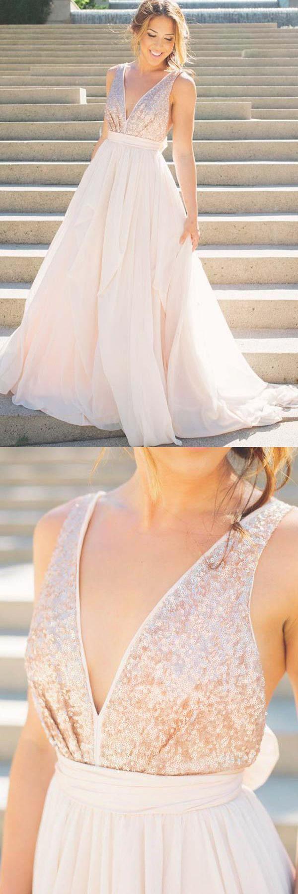 Unique long chiffon sequin vneck backless prom dresses oka