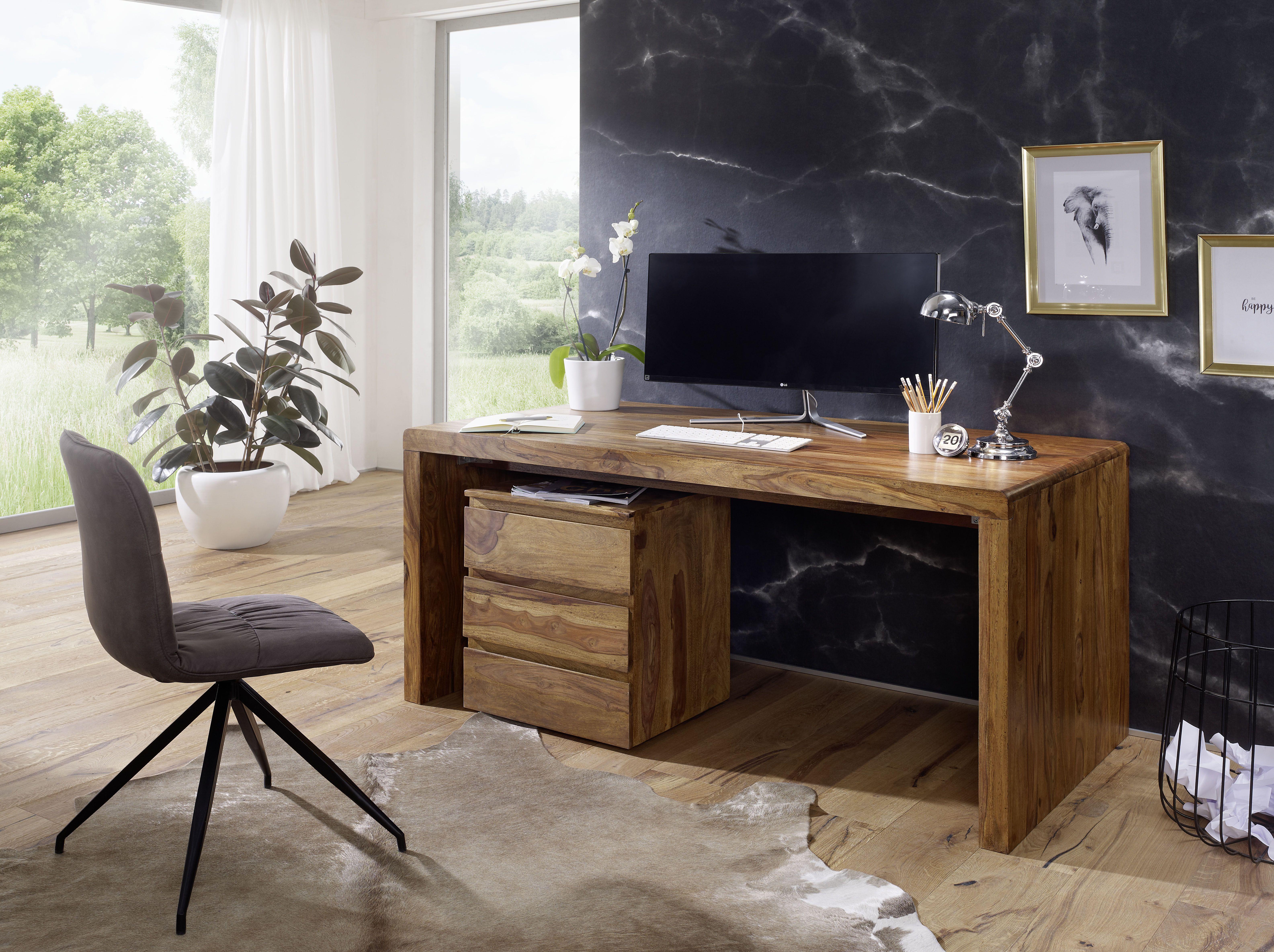 Rustikaler Schreibtisch Mit Grosser Ablageflache Burotisch Design Tischdesign Mobeldesign