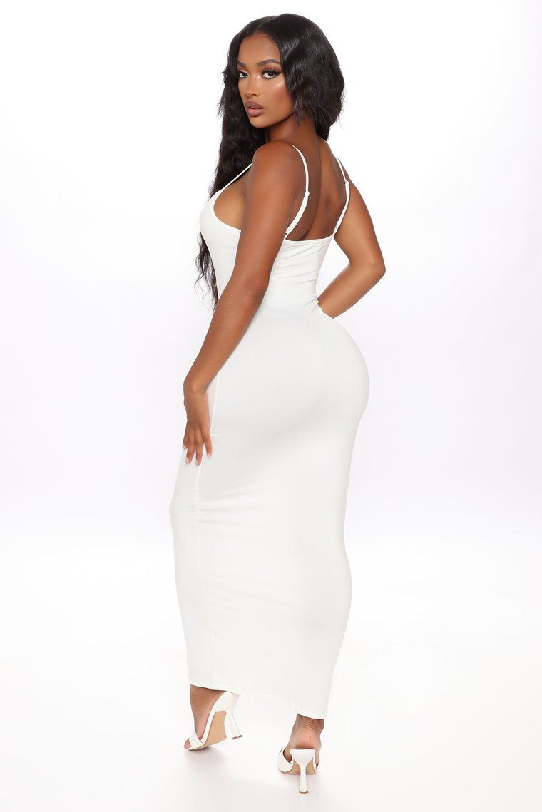 Feel Your Best Ruched Maxi Dress White Ruched maxi