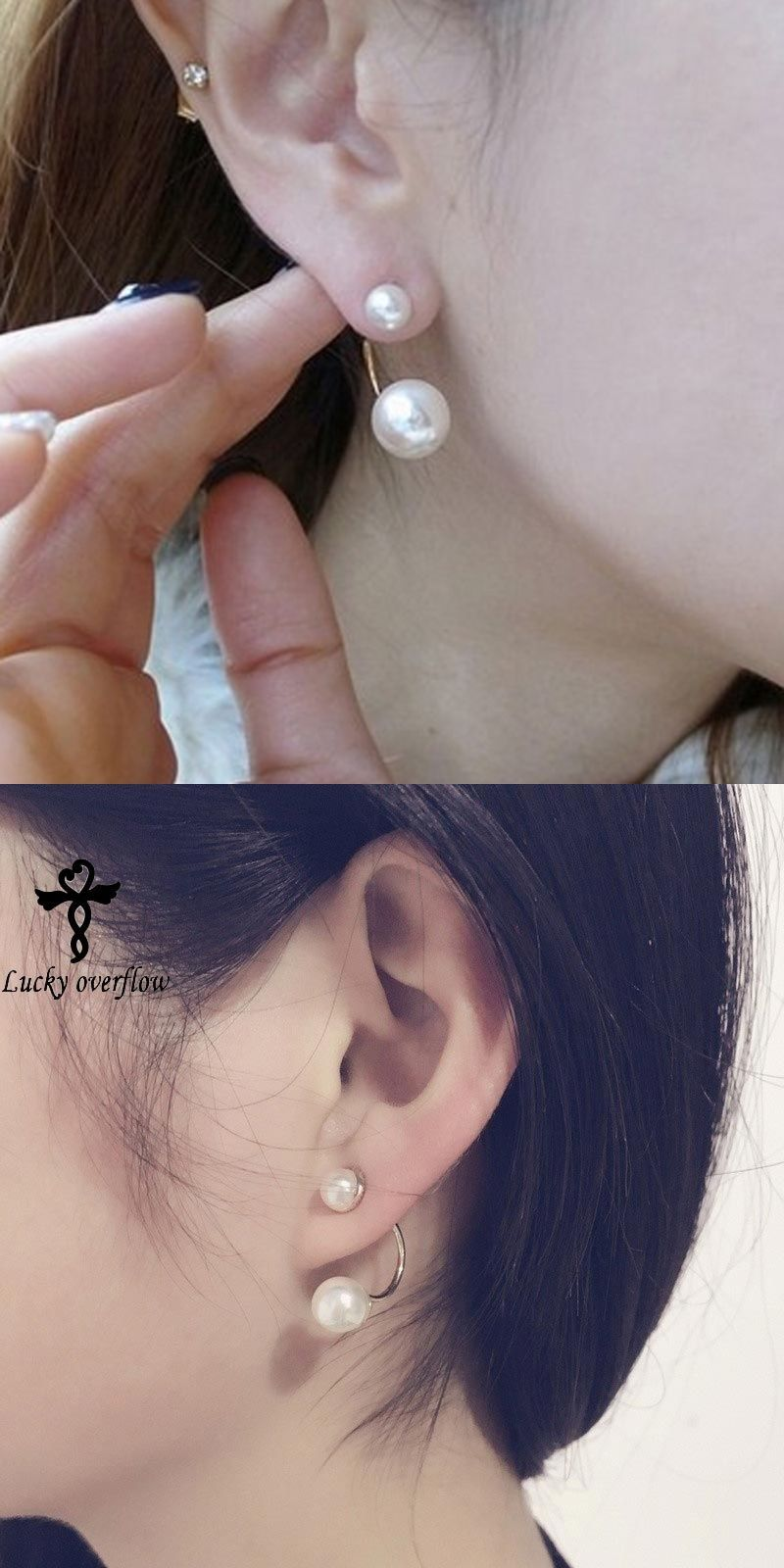 New Fashion Paragraph Hot Ing Magnet Clip Earrings Double Side Shining Simulated Pearl