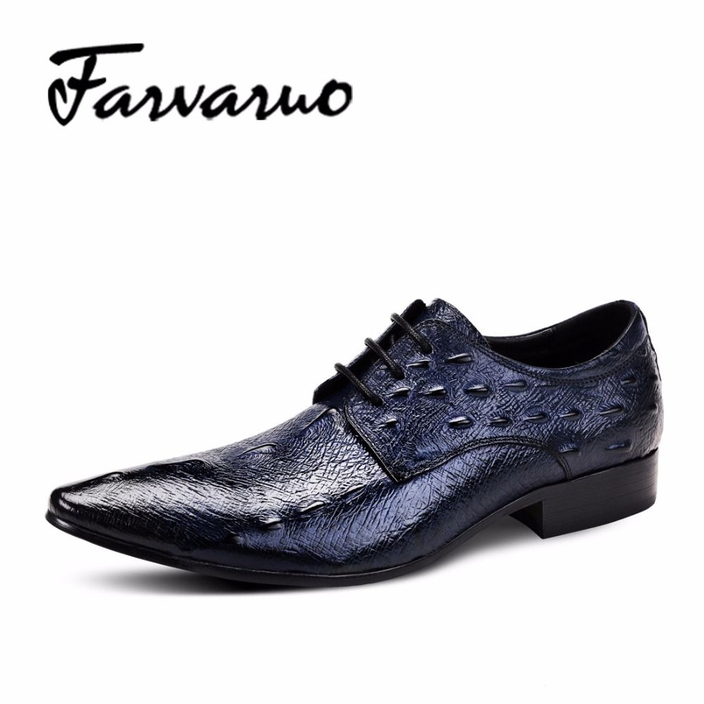 Farvarwo Men s Genuine Leather Derby Shoes Hommes Crocodile Brand Casual Shoes  Men 2017 Spring Laces Luxury f626edec8962
