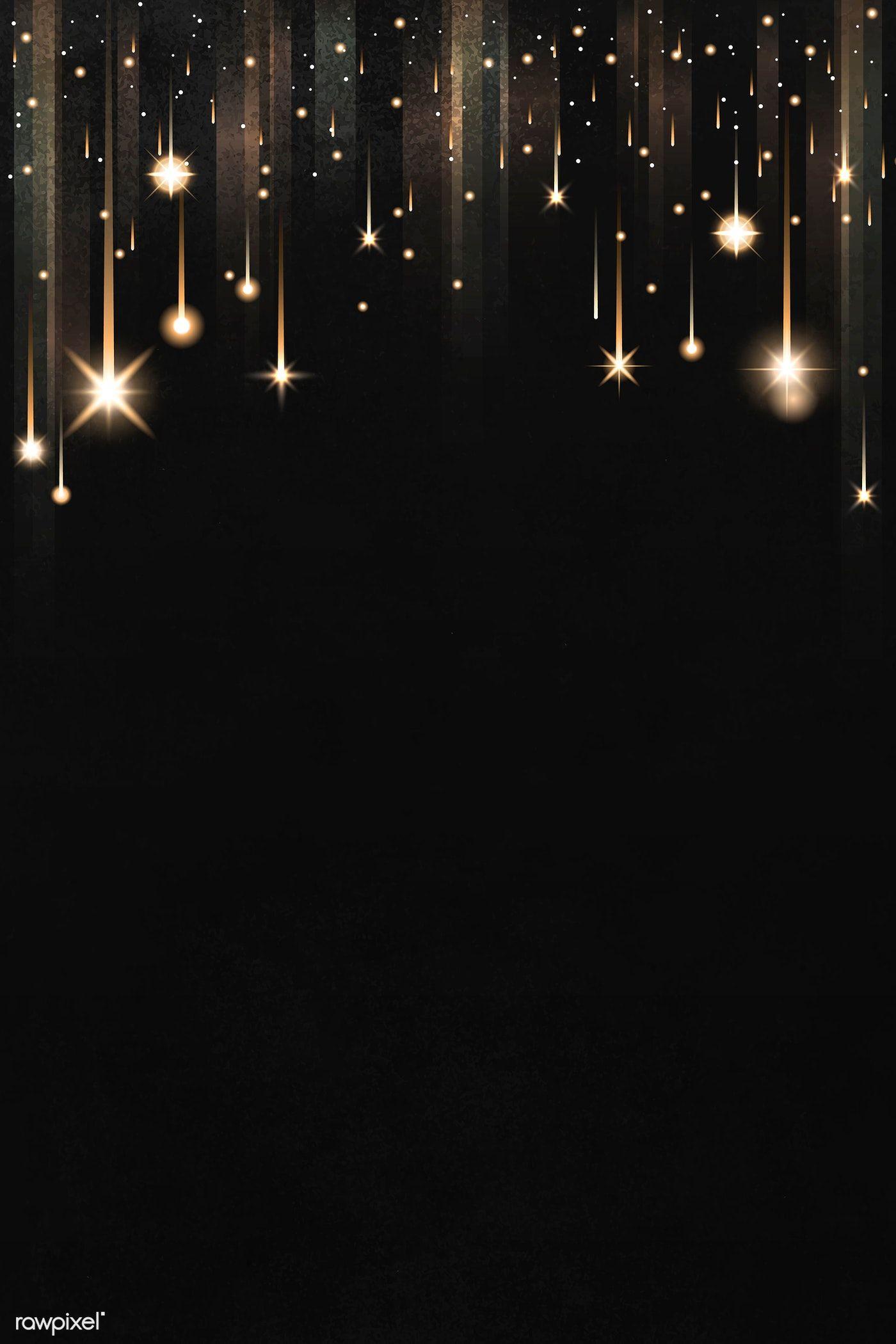 Download Premium Vector Of Gold Sparkles Patterned On Black Background Black Background Wallpaper Best Background Images Black Sparkle Background