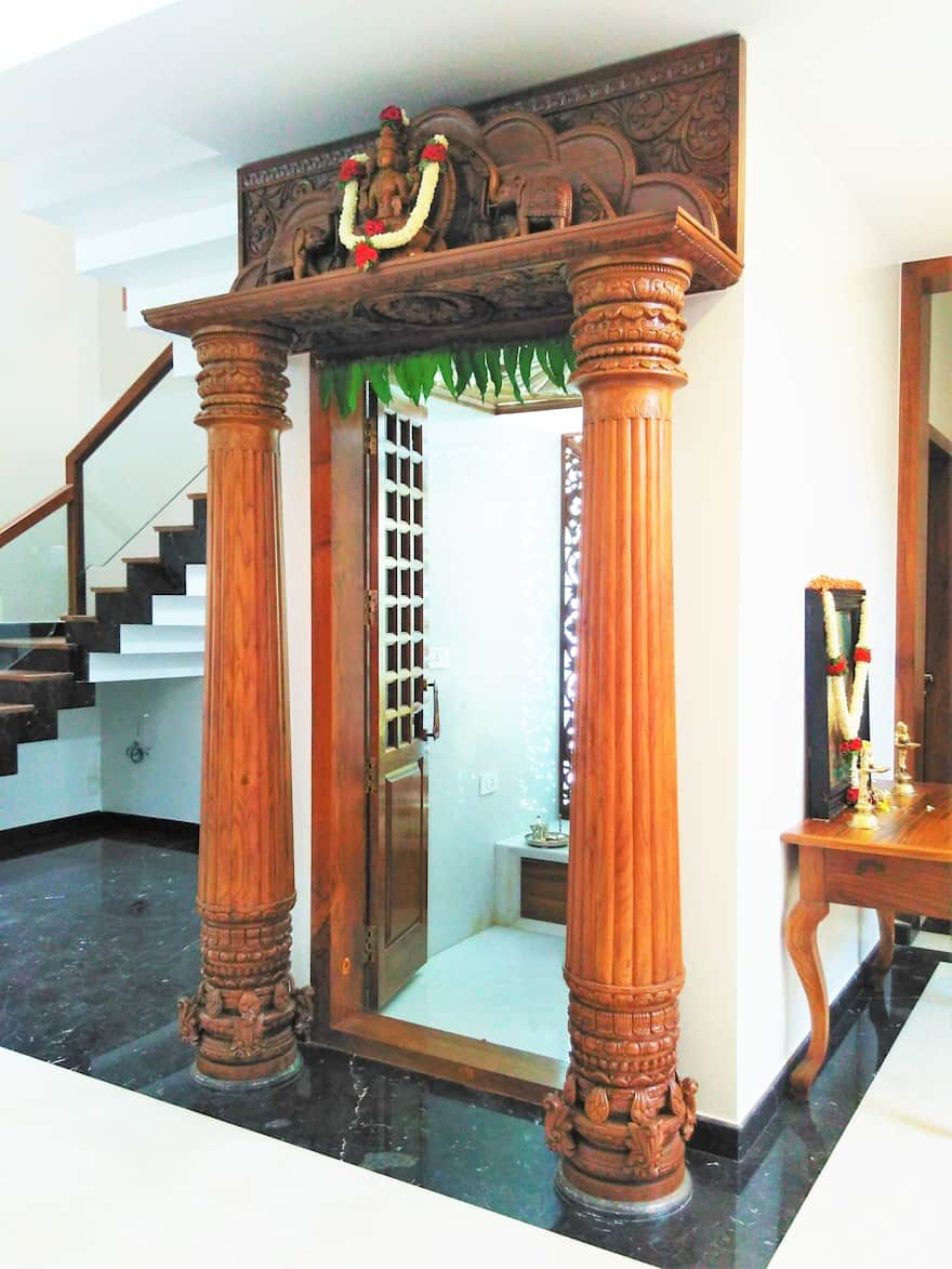 9 Traditional Pooja Room Door Designs In 2020: Living Room Design Ideas, Interiors & Pictures In 2020