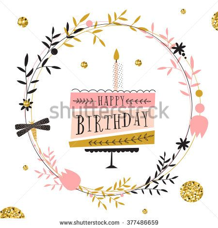 Vector happy birthday card Modern hipster greeting with