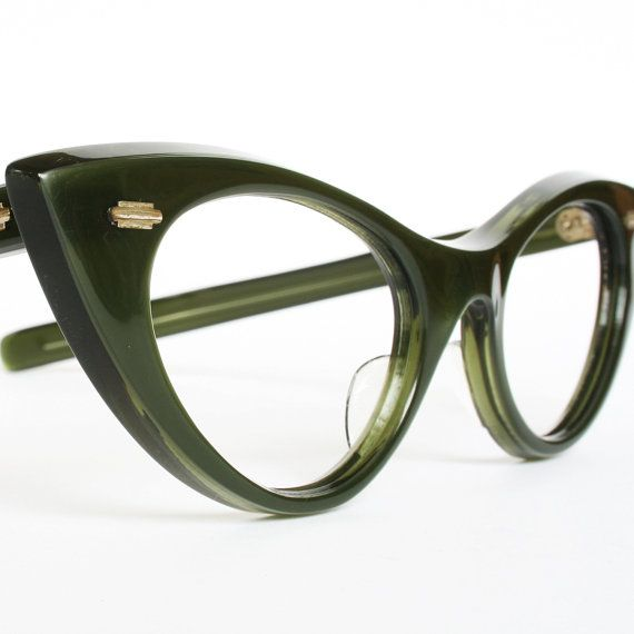 Satiny Green Vintage Cat Eye Glasses