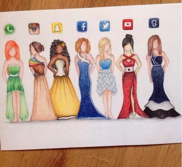 Desenho de vestido social