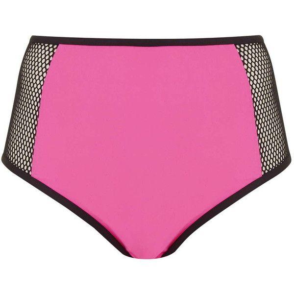 ece38ace46540 TOPSHOP   Neon Pink Sports Mesh High Leg Bikini Bottoms by Jaded ...