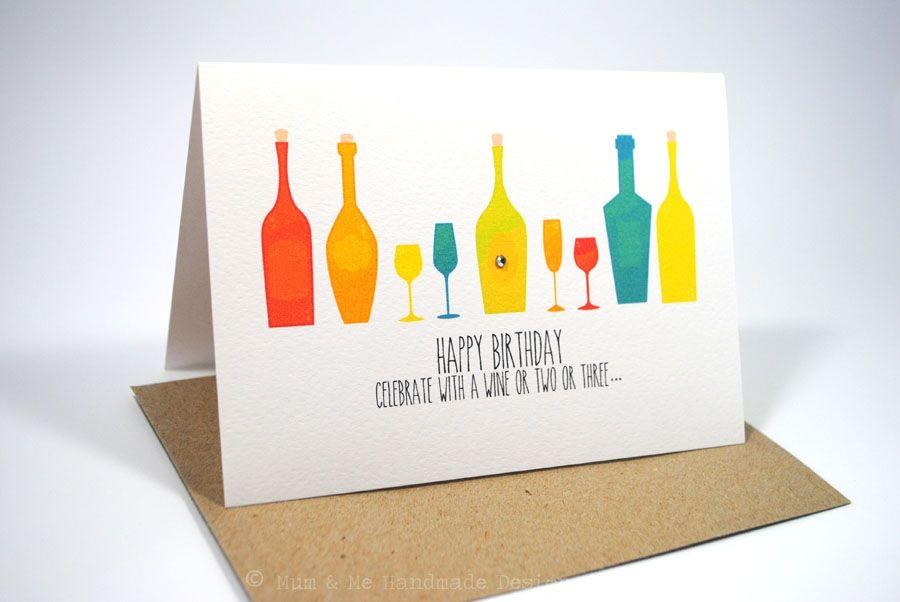 Happy Birthday Male Wine ~ Happy birthday card female male wine bottles cards