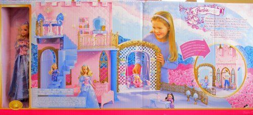 "BARBIE Sleeping Beauty ROYAL CASTLE & Doll Playset & MORE! (2006 Multi-Lingual Box) by Mattel Canada. $329.99. Includes: Sleeping Beauty's Royal Castle has 2 sided play, a Staircase, a Swing & comes with some Furniture. Set also includes Barbie Doll as Sleeping Beauty approx. 11.5"" tall with blond hair; doll wears a shimmery blue & pink Gown, a blue plastic Crown, & a pair of Shoes.. Set UNASSEMBLED. For Ages 3+ Years. Box has Multi-Lingual writing: English, French, Spanish, G..."