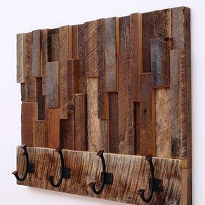 Custom Made Reclaimed Wood Art Coat Rack