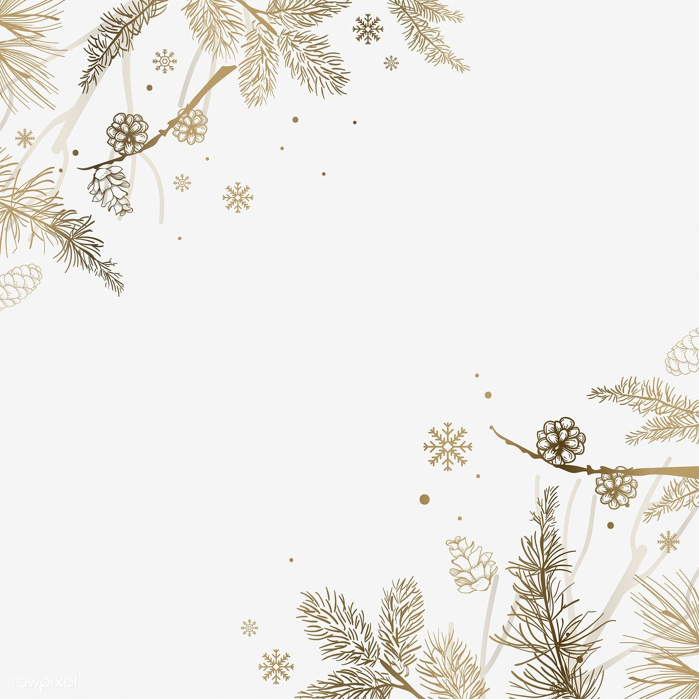 White background with winter decoration vector free