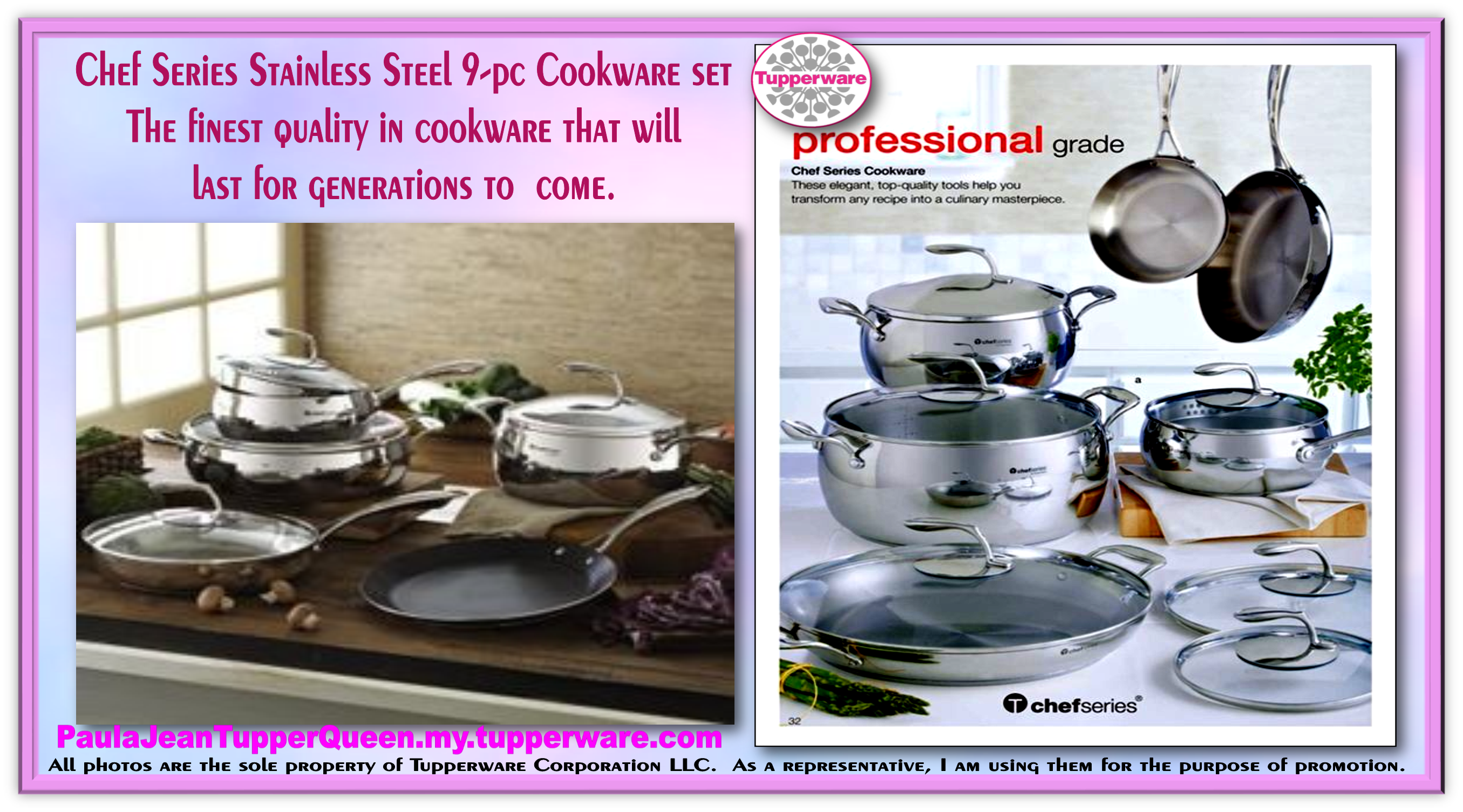 Classy Convenient Durable The New Chef Series 9 Pc Cookware Set Tupperware Tchef Fry Pan From