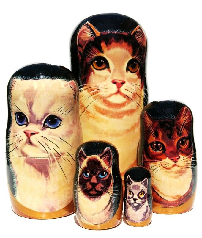 Cats Wooden Nesting Animal Pet Doll Russian Handmade Stacking Dolls Gifts 5pc