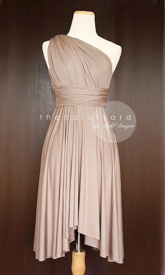 nouveau produit cf579 066bc TDY Light Taupe Short Asymmetrical Bridesmaid Dress ...