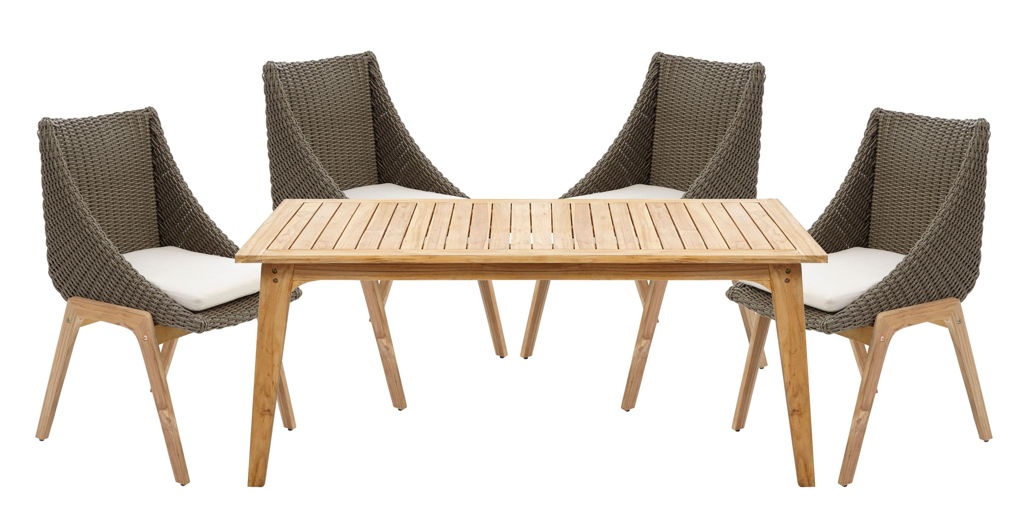 Retro Rattan Effect 4 Seater Dining Set Departments 400 x 300
