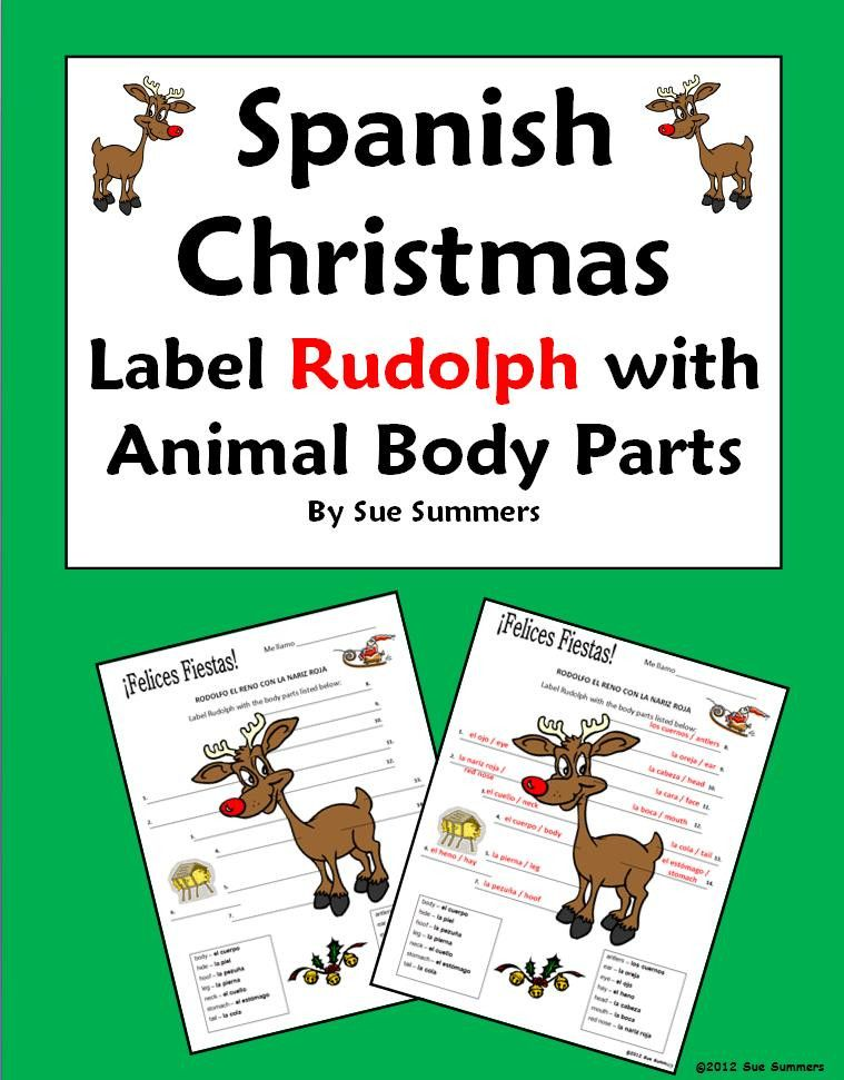 Spanish Christmas Navidad Label Rudolph With Animal Body Parts By