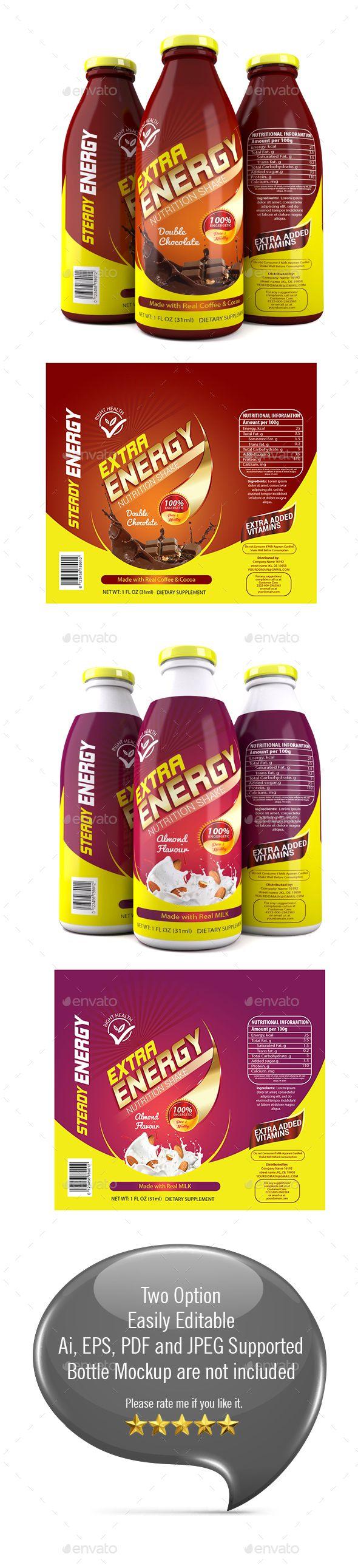 Protein Milk Shake Label Template | Label templates, Ai illustrator ...