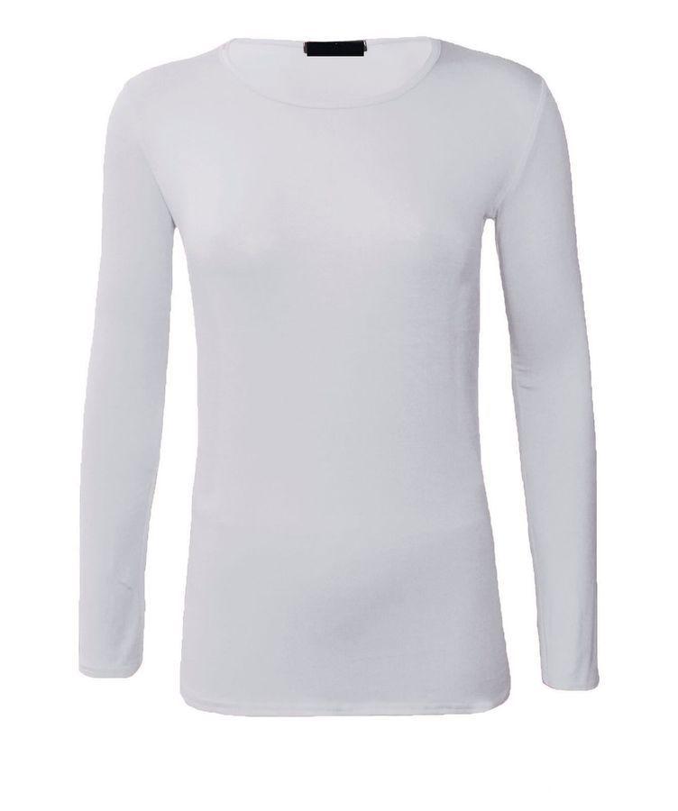 efb9254c4f04 Womens Long Sleeve Stretch Plain Round Scoop Neck T Shirt Top 6-20  Round_Neck#Stretch#Plain#Sleeve