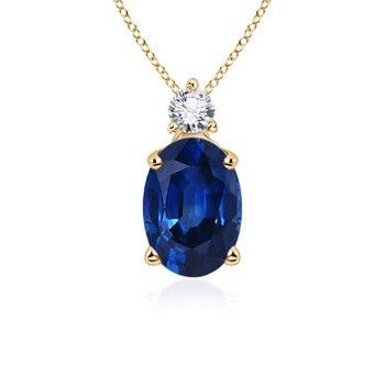 Angara Emerald-Cut Blue Sapphire Pendant with Diamond Trio