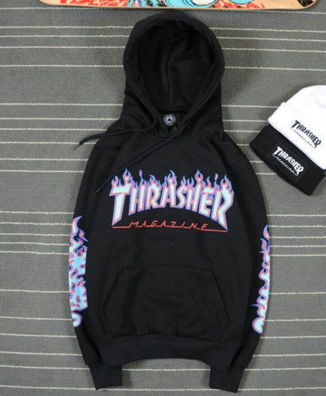 3bd9dbf23e19 Style Men s Hip-Hop Skateboard Fleece Hoodie Flame Thrasher Sweatshirts