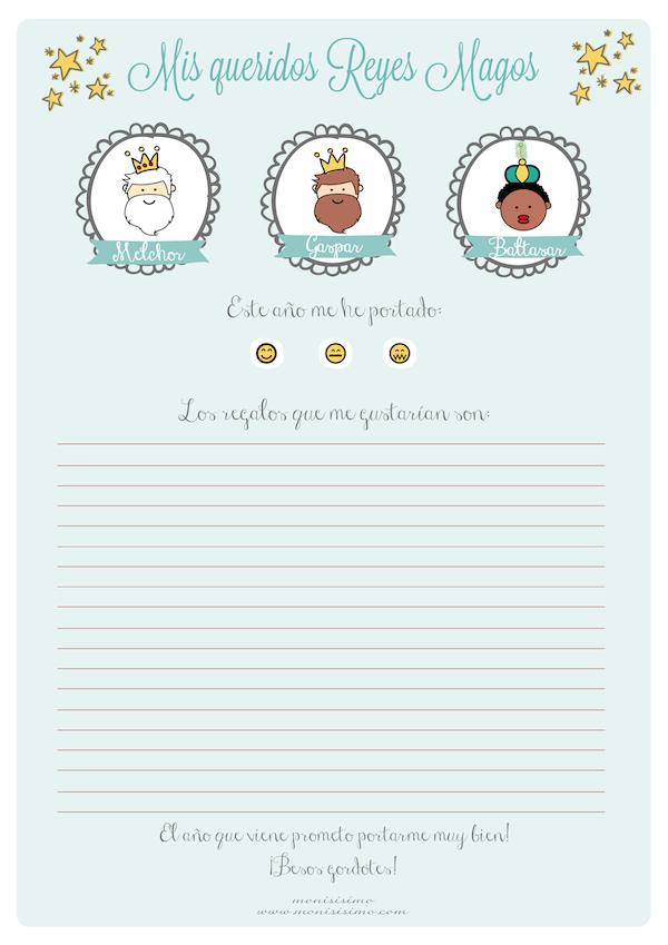 Worksheet. Carta a los Reyes Magos imprime gratis 4 modelos  Rey Magos y