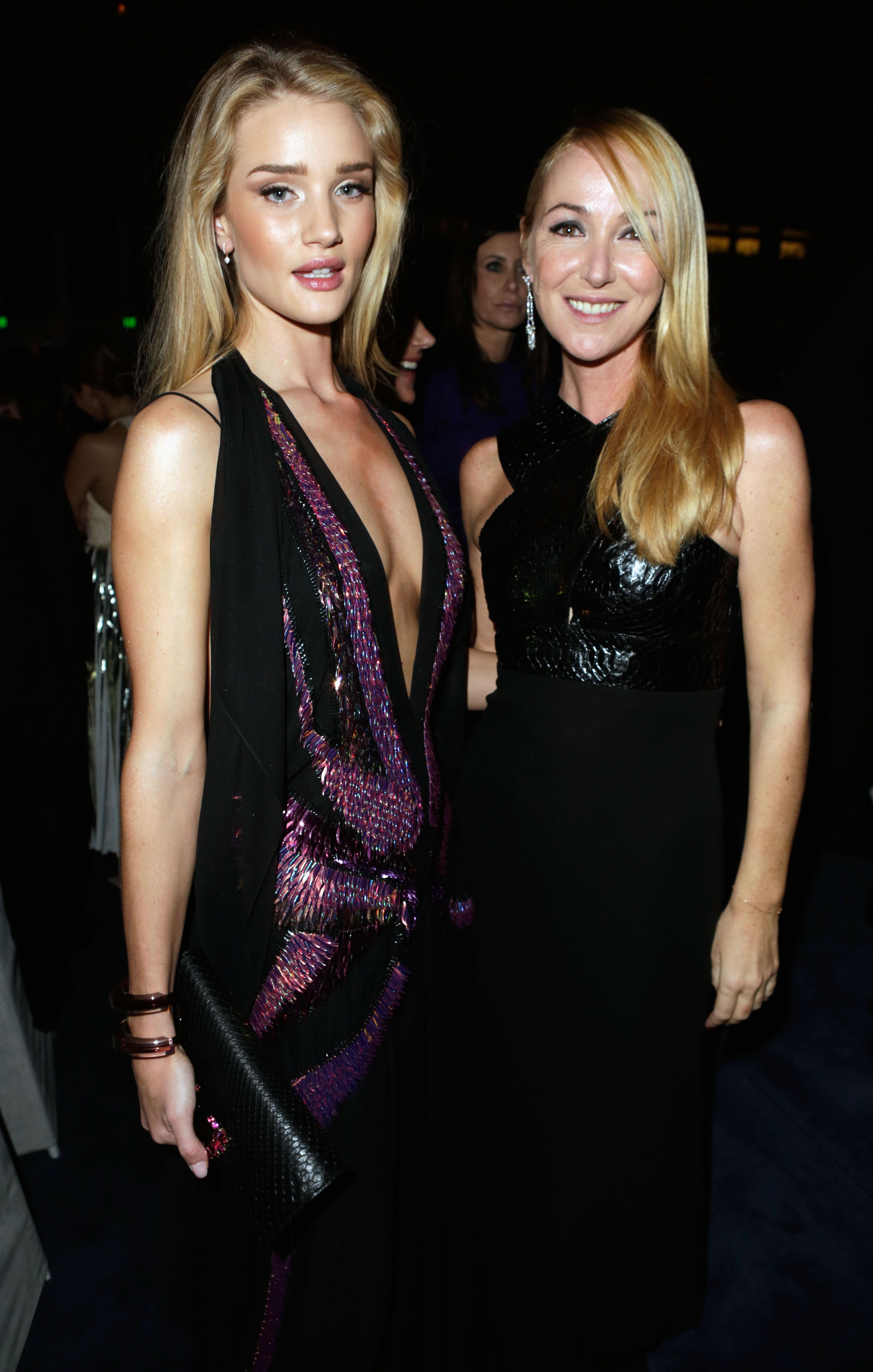 Actress Rosie Huntington-Whiteley, wearing Gucci, and Creative Director of Gucci Frida Giannini attend the LACMA 2013 Art + Film Gala
