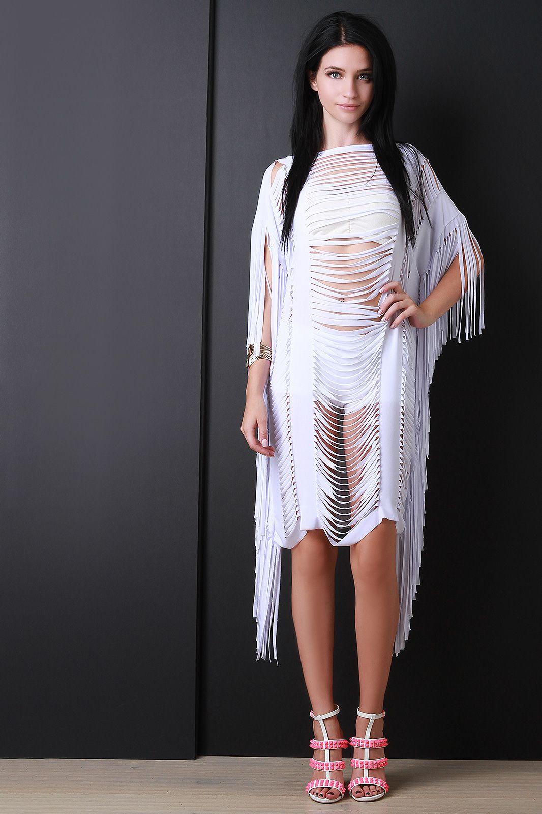 Fringe slit overlay dress urbanog fashion dresses ii