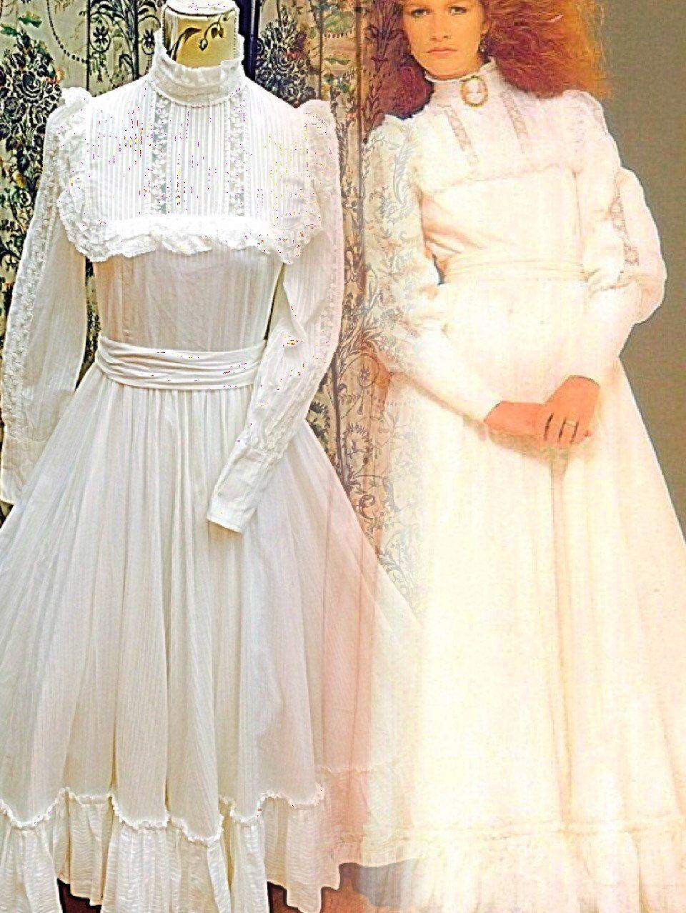 Rare vintage s laura ashley bridal range white cotton wedding
