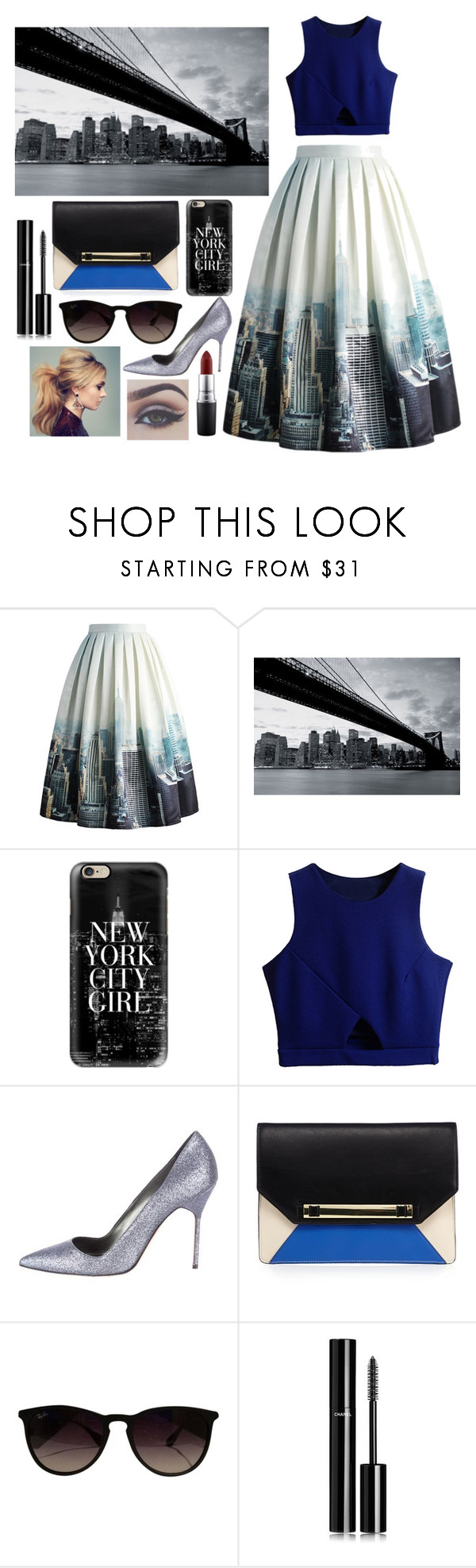 """""""new york girl"""" by panda071 ❤ liked on Polyvore featuring Chicwish, 1Wall, Casetify, Manolo Blahnik, Ray-Ban, Chanel and MAC Cosmetics"""
