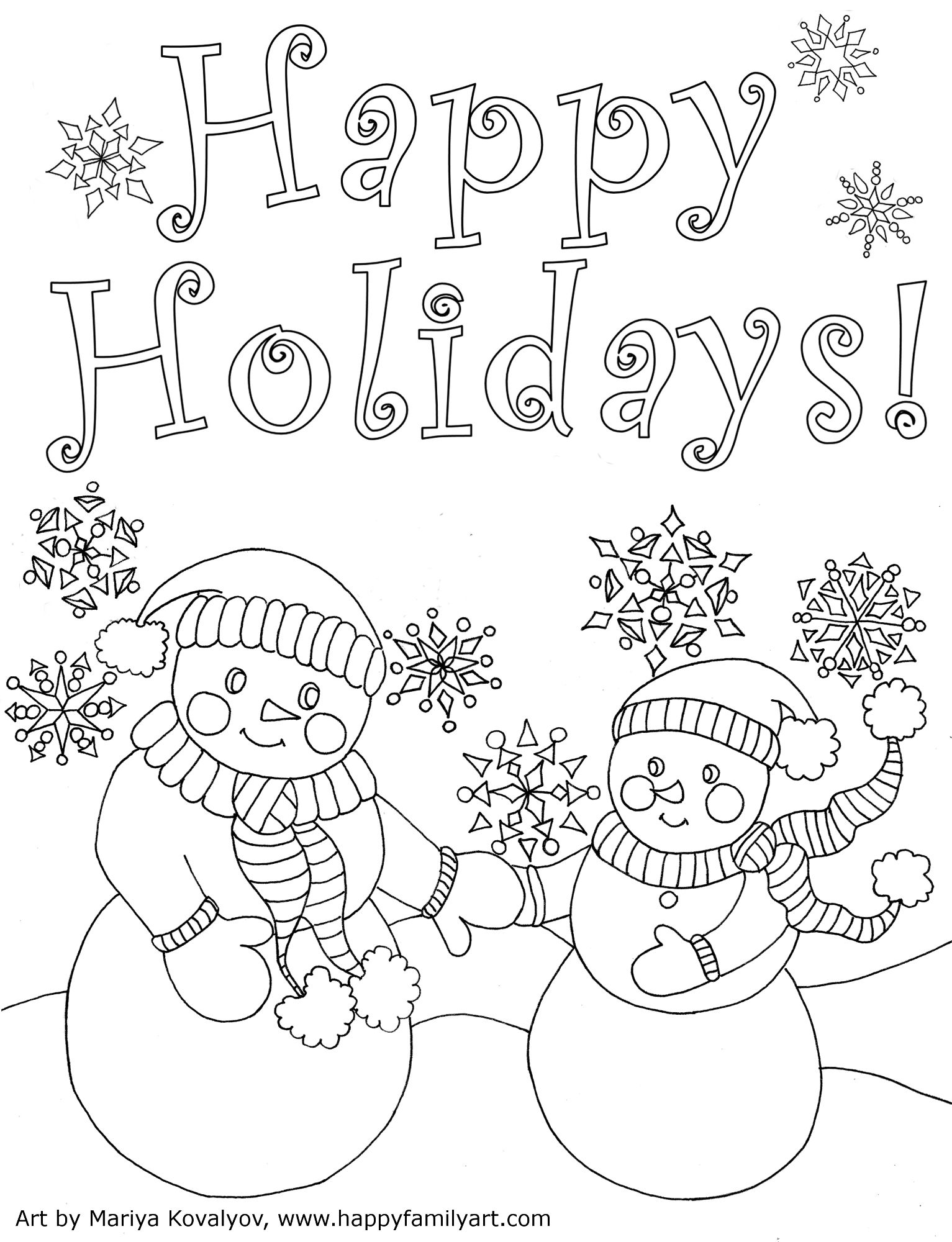 Free Printable Happy Holidays Coloring Pages