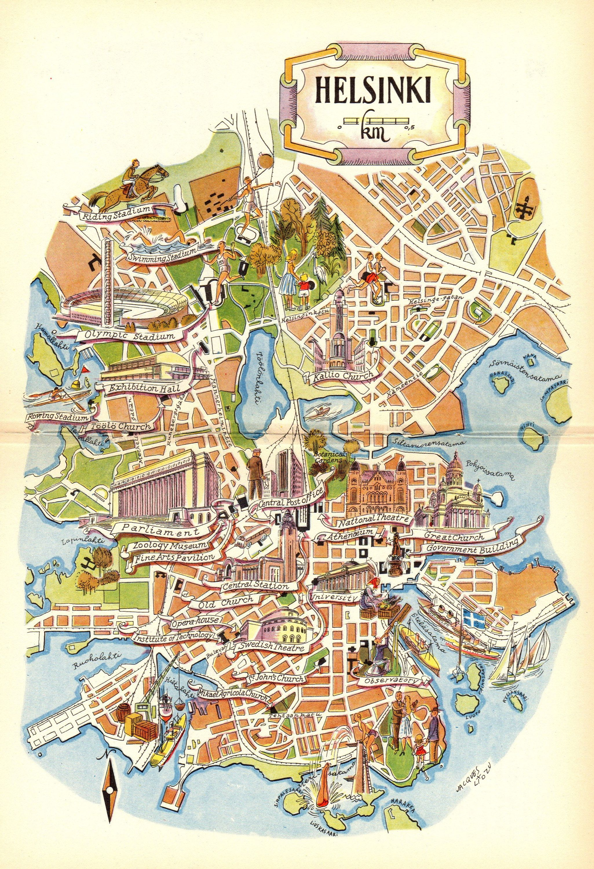 1952 Vintage Helsinki Finland Picture Map Of Finland
