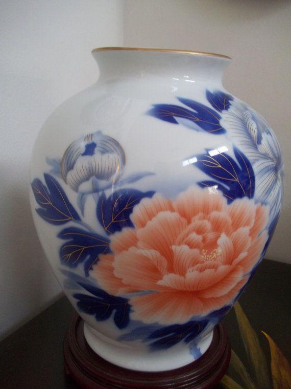 Fukagawa Vase 5 Huge Kaou Botan Pioen Peony Blossoms